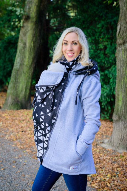 Grau Jogging Jacke mit Tragetuch Triangel - black and white