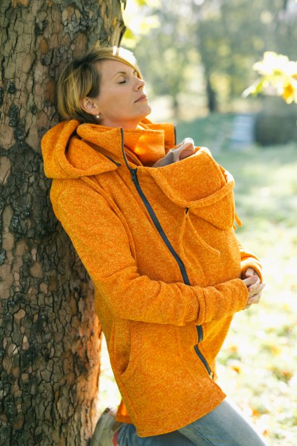Orange Sweatshirt Tragejacke